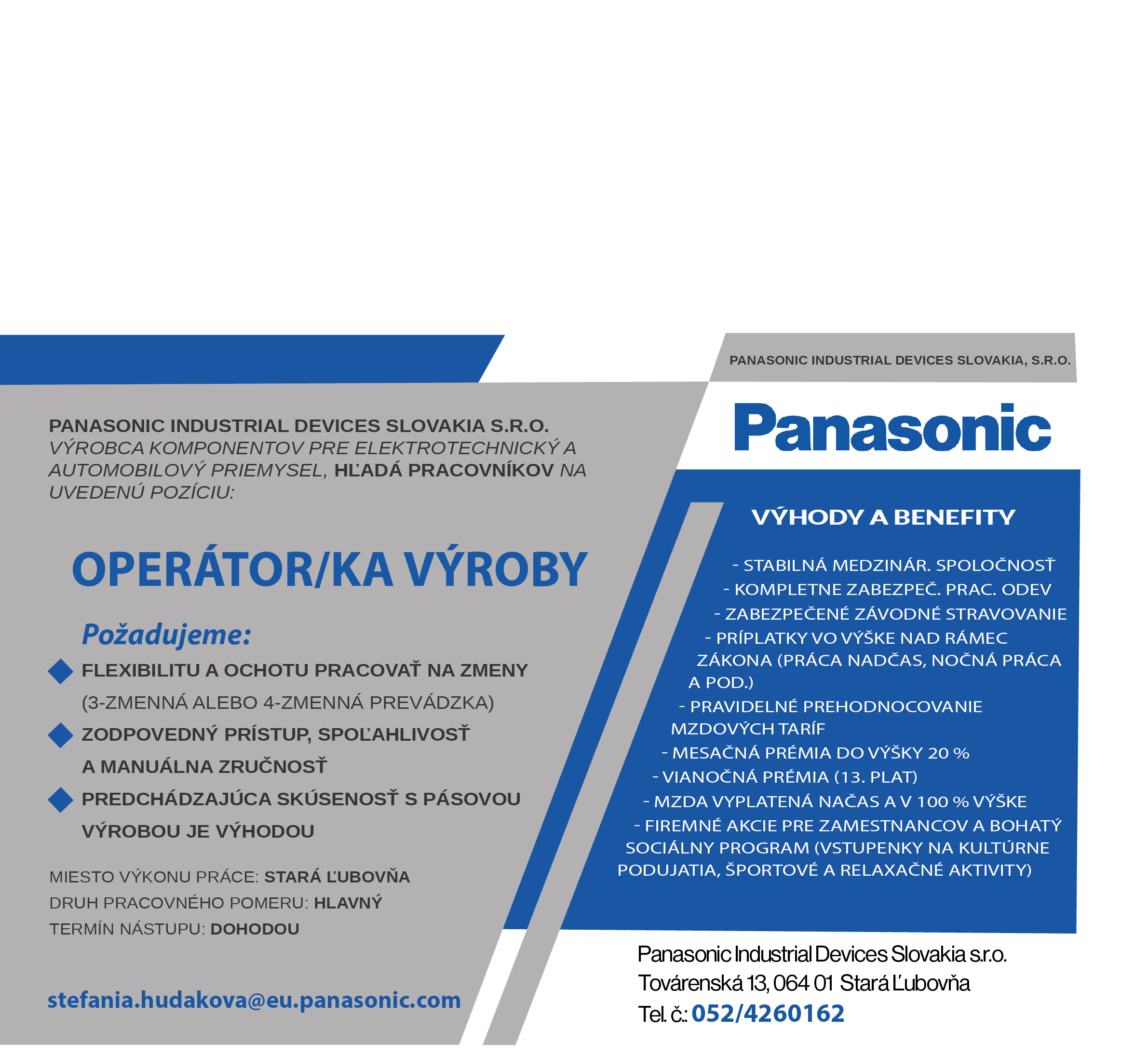 72468bead Ponuka práce PANASONIC   www.plavnica.sk